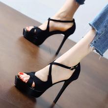 黑色性感交叉一fa4扣带凉鞋ta20新式欧美防水台细跟鱼嘴高跟鞋