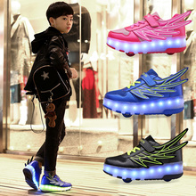 金杰猫fa走鞋学生男ta轮闪灯滑轮鞋宝宝鞋翅膀的带轮子鞋闪光