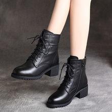 4马丁fa女2021ta新式英伦风中跟粗跟(小)短靴子春秋单靴