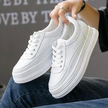 系带白fa新式韩款百ng松糕鞋女鞋真皮(小)白鞋单鞋内增高休闲鞋