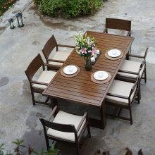 卡洛克fa式富临轩铸ei色柚木户外桌椅别墅花园酒店进口防水布