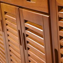 鞋柜实木fa价对开门入tu百叶门厅柜家用门口大容量收纳
