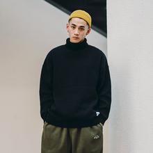 BDCfa秋冬厚式黑tu毛衣男宽松潮流时尚冬季纯色加厚男生毛线衣