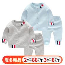 婴儿冬fa纯棉毛衣套hi宝宝秋冬加绒开衫新年装针织衫过年衣服