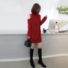 202fa年新式冬装hi欧货女露肩针织宽松裙子红色毛衣打底连衣裙
