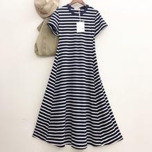 [fashionole]欧美休闲短袖条纹连衣裙