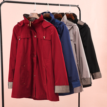 欧美大fa中长式防风le帽户外风衣两件套夹克外贸原单女装大码