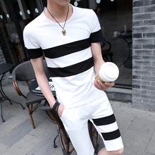 夏季男fa潮流短袖Txc身短裤衣服套装非主流发型师夏天条纹t血
