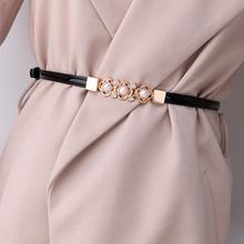 可调节漆皮珍珠花朵细腰带女士百fa12装饰连st配饰皮带腰链
