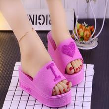 夏季新fa韩款时尚心st跟坡跟凉拖鞋女厚底高跟拖鞋女鱼嘴鞋