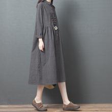 十暮棉fb春装新式连rx020韩款宽松大码时尚长袖格子棉麻中长式