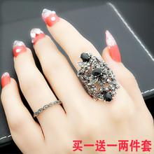 欧美复fb宫廷风潮的rx艺夸张镂空花朵黑锆石戒指女食指环礼物