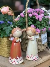 美式乡fd陶瓷的物摆bg饰品客厅酒柜电视柜装饰花园置物架娃娃