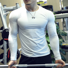 202fe春健身服男er身弹力速干运动上衣透气T恤打底衫训练纯白