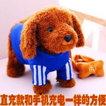 宝宝电fe玩具狗狗会er歌会叫 可USB充电电子毛绒玩具机器(小)狗
