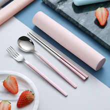 便携筷fe勺子套装餐as套单的304不锈钢叉子韩国学生可爱筷盒