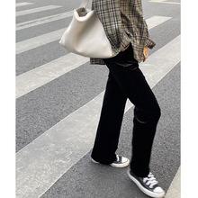 垂感阔fe裤女宽松2ai秋冬式高腰显瘦直筒黑色金丝绒(小)个子拖地裤