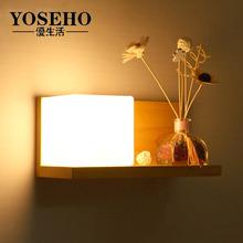 现代卧fe壁灯床头灯ku代中式过道走廊玄关创意韩式木质壁灯饰