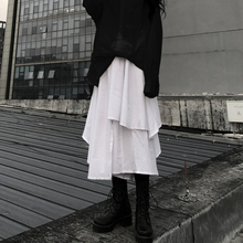 不规则fe身裙女秋季dens学生港味裙子百搭宽松高腰阔腿裙裤潮