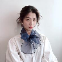 (小)丝巾fe士春秋季百nu方巾韩国领巾细窄围巾冬季纱巾领带装饰