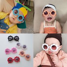 insfe式韩国太阳uo眼镜男女宝宝拍照网红装饰花朵墨镜太阳镜