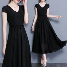 202fe夏装新式沙si瘦长裙韩款大码女装短袖大摆长式雪纺连衣裙