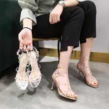 网红透fe一字带凉鞋ng0年新式洋气铆钉罗马鞋水晶细跟高跟鞋女