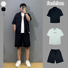【套装fe夏季韩款短le分袖外套潮流宽松(小)西服短裤潮男中袖