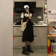 Sevfen4leew8 日系吊带女(小)心机显瘦黑色背带裙