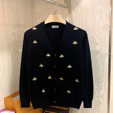 欧美轻ff范(小)蜜蜂刺ha针织开衫 春秋潮男高端个性修身毛衣外套