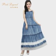 PinffLegenha红传奇 春夏蕾丝修身牛仔连衣裙 吊带蛋糕花边长裙