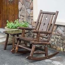 户外碳ff防腐实木桌jf阳台复古休闲摇椅室内外加粗躺椅逍遥椅