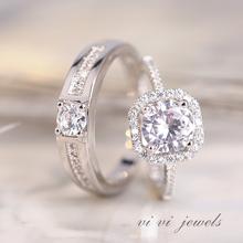 结婚情fh活口对戒奢aw钻戒男女一对开口可调节求婚戒指假道具