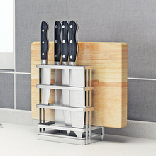 304fi锈钢刀架砧ei盖架菜板刀座多功能接水盘厨房收纳置物架
