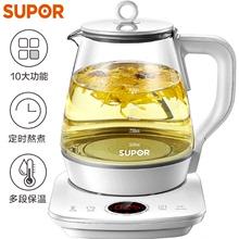 苏泊尔fi生壶SW-djJ28 煮茶壶1.5L电水壶烧水壶花茶壶煮茶器玻璃
