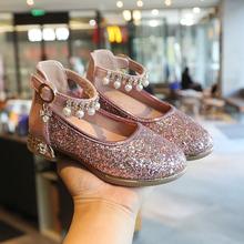 202fi春秋新式女li鞋亮片水晶鞋(小)皮鞋(小)女孩童单鞋学生演出鞋