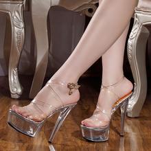 202fi夏季新式女ht5cm/厘米超 性感全透明水晶细跟凉鞋