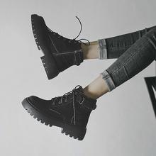 马丁靴fi春秋单靴2on年新式(小)个子内增高英伦风短靴夏季薄式靴子