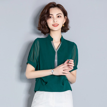 妈妈装fi装30-4on0岁短袖T恤中老年的上衣服装中年妇女装雪纺衫