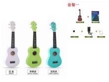 初学者fi童木质夏威on克ukulele21寸(小)学生吉他成的尤女彩色