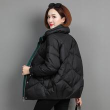 羽绒服fi2020新on韩款短式宽松时尚百搭白鸭绒妈妈立领外套