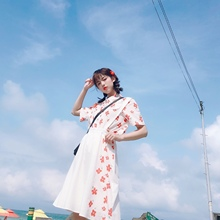少女星fi原创日系少on显瘦印花衬衣+宽松两件套装潮流