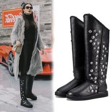 高筒雪地靴女fi3毛一体2an款时尚个性铆钉真皮防水加厚冬季长靴