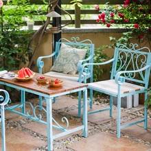 掬涵花fi 铁艺实木an长椅 单的椅 桌子 茶几 户外庭院装饰
