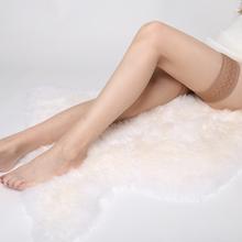 蕾丝超fi丝袜高筒袜ne长筒袜女过膝性感薄式防滑情趣透明肉色