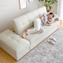 日式(小)fi型客厅双的ne发多功能储物可折叠两用沙发床