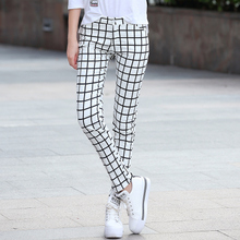 高腰2fi20秋装新us时尚女装裤修身显瘦长裤黑白格子铅笔直筒裤