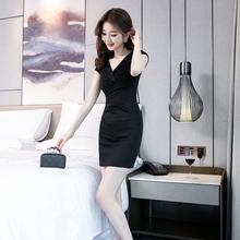 夏天裙fi(小)个子气质us款性感修身包臀职业黑色V领连衣裙短式
