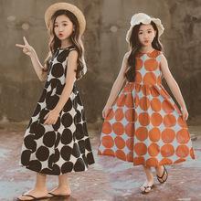 女童连fj裙夏装长裙bs9新式中大童圆点印花沙滩裙纯棉无袖背心裙