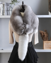 狐狸围脖整只真毛领子fj7张狐狸皮yc男女通用围巾披肩包邮